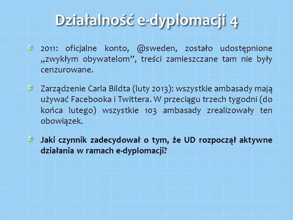2011: oficjalne konto, @sweden, zostało udostępnione zwykłym obywatelom, treści zamieszczane tam nie były cenzurowane. Zarządzenie Carla Bildta (luty
