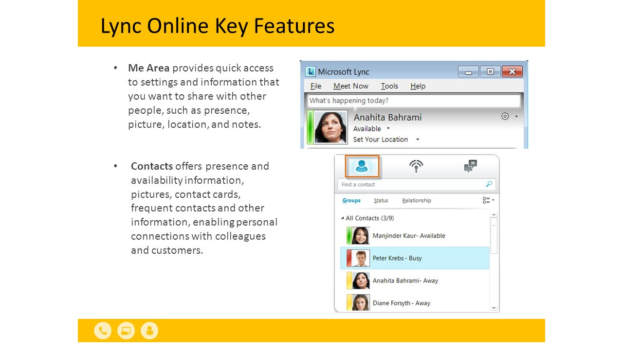Lync Online Key Features Me Area provides quick access to settings and information that you want to share with other people, such as presence, picture