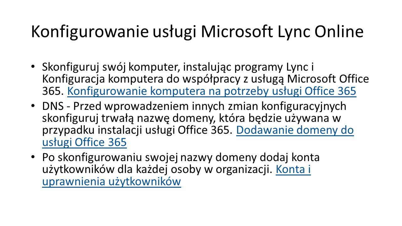 Konfigurowanie usługi Microsoft Lync Online Skonfiguruj swój komputer, instalując programy Lync i Konfiguracja komputera do współpracy z usługą Micros