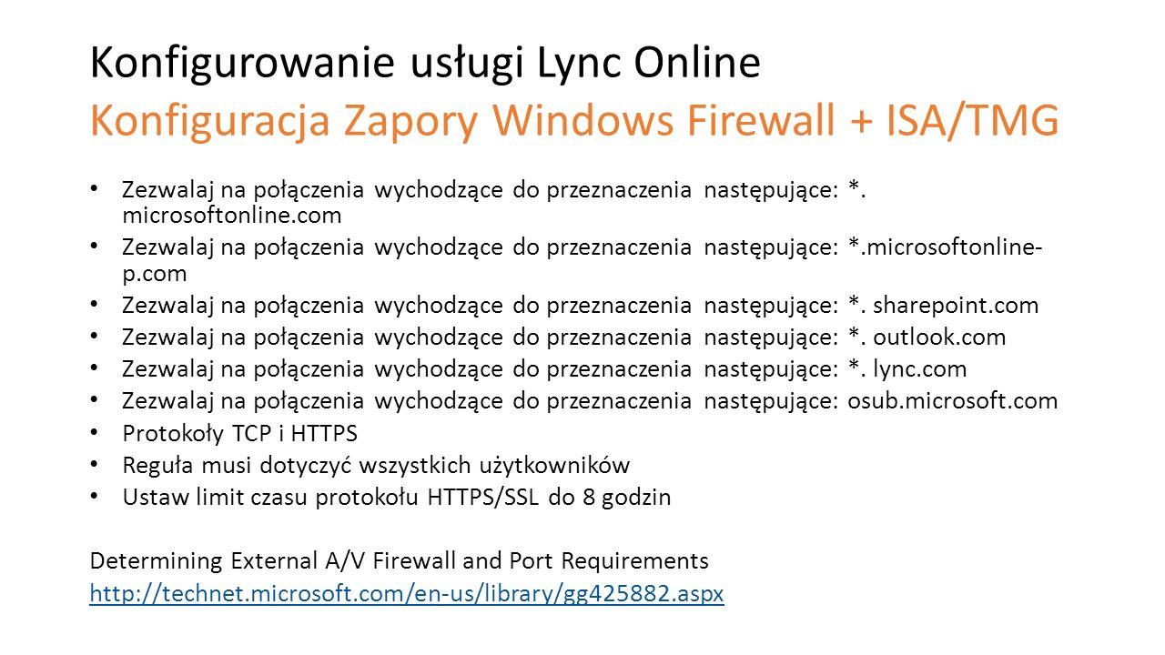 Konfigurowanie usługi Lync Online Konfiguracja Zapory Windows Firewall + ISA/TMG Zezwalaj na połączenia wychodzące do przeznaczenia następujące: *. mi