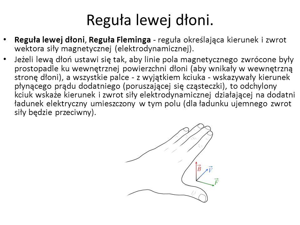 Reguła lewej dłoni. Reguła lewej dłoni, Reguła Fleminga - reguła określająca kierunek i zwrot wektora siły magnetycznej (elektrodynamicznej). Jeżeli l