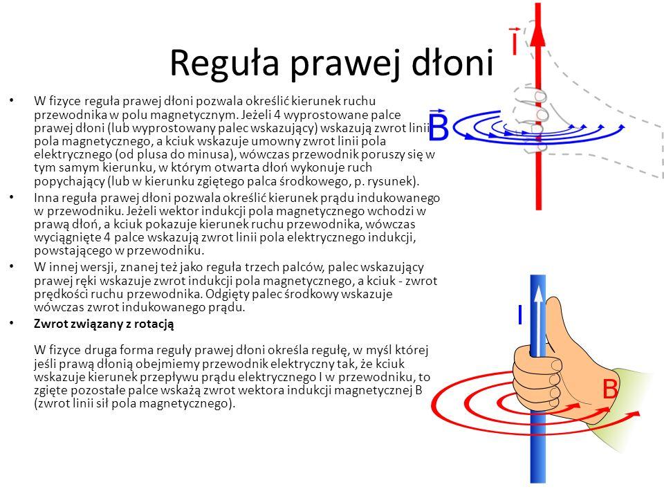 Reguła prawej dłoni W fizyce reguła prawej dłoni pozwala określić kierunek ruchu przewodnika w polu magnetycznym. Jeżeli 4 wyprostowane palce prawej d