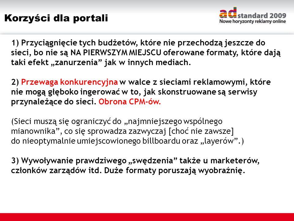 Korzyści dla portali 1) Przyciągnięcie tych budżetów, które nie przechodzą jeszcze do sieci, bo nie są NA PIERWSZYM MIEJSCU oferowane formaty, które d