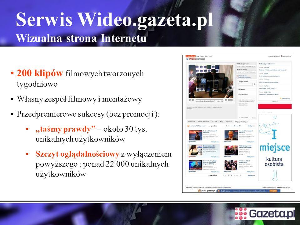 Serwis Wideo.gazeta.pl Wizualna strona Internetu 200 klipów filmowych tworzonych tygodniowo Własny zespół filmowy i montażowy Przedpremierowe sukcesy (bez promocji ): taśmy prawdy = około 30 tys.