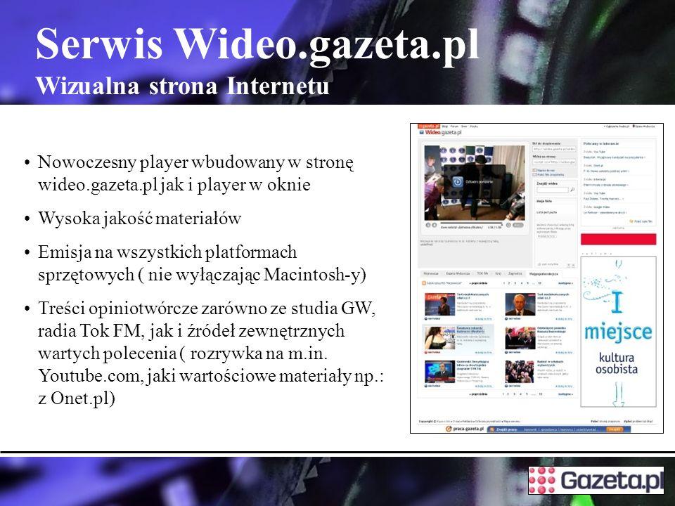 Serwis Wideo.gazeta.pl Wizualna strona Internetu Nowoczesny player wbudowany w stronę wideo.gazeta.pl jak i player w oknie Wysoka jakość materiałów Emisja na wszystkich platformach sprzętowych ( nie wyłączając Macintosh-y) Treści opiniotwórcze zarówno ze studia GW, radia Tok FM, jak i źródeł zewnętrznych wartych polecenia ( rozrywka na m.in.