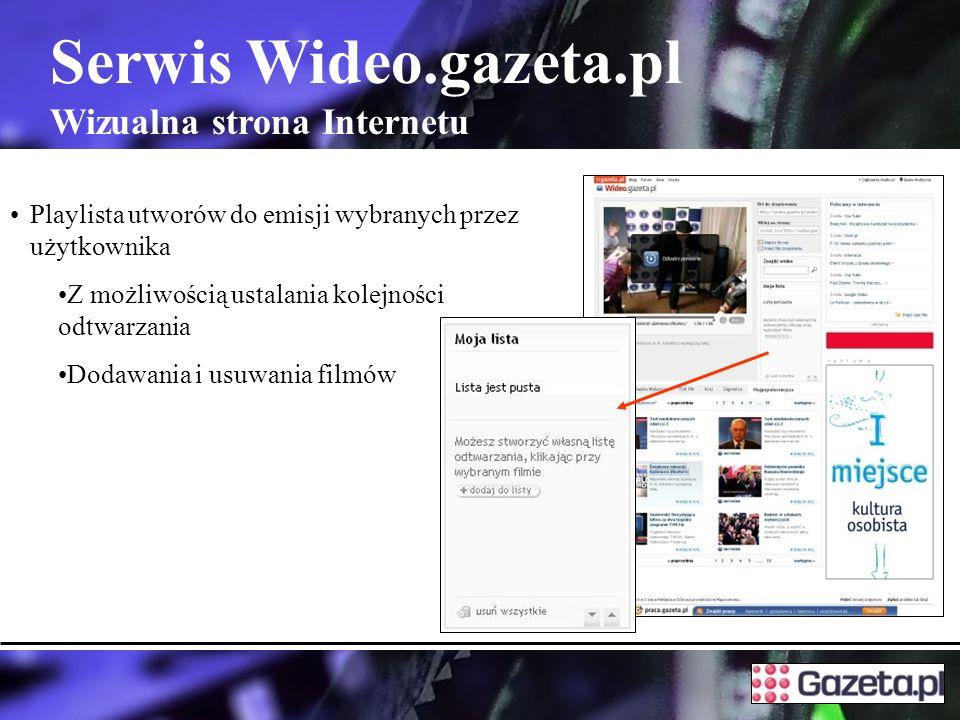Serwis Wideo.gazeta.pl Wizualna strona Internetu Playlista utworów do emisji wybranych przez użytkownika Z możliwością ustalania kolejności odtwarzania Dodawania i usuwania filmów
