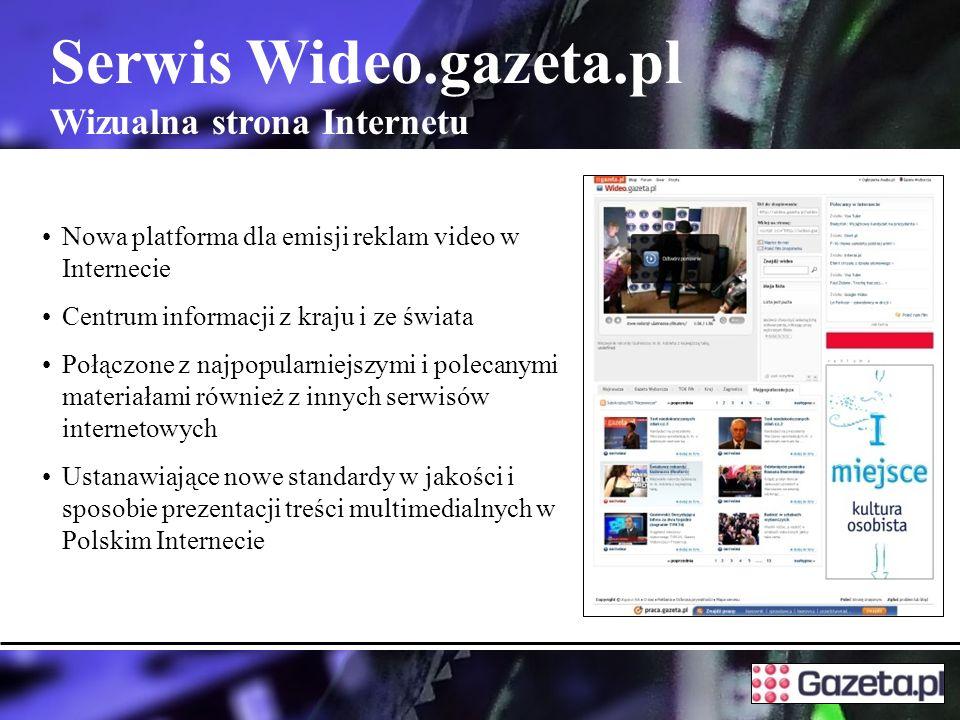 Serwis Wideo.gazeta.pl Wizualna strona Internetu Nowa platforma dla emisji reklam video w Internecie Centrum informacji z kraju i ze świata Połączone z najpopularniejszymi i polecanymi materiałami również z innych serwisów internetowych Ustanawiające nowe standardy w jakości i sposobie prezentacji treści multimedialnych w Polskim Internecie