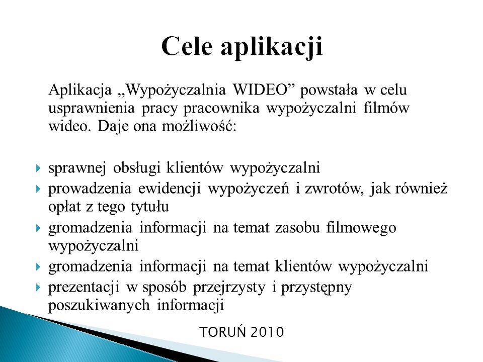 Aplikacja Wypożyczalnia WIDEO powstała w celu usprawnienia pracy pracownika wypożyczalni filmów wideo. Daje ona możliwość: sprawnej obsługi klientów w