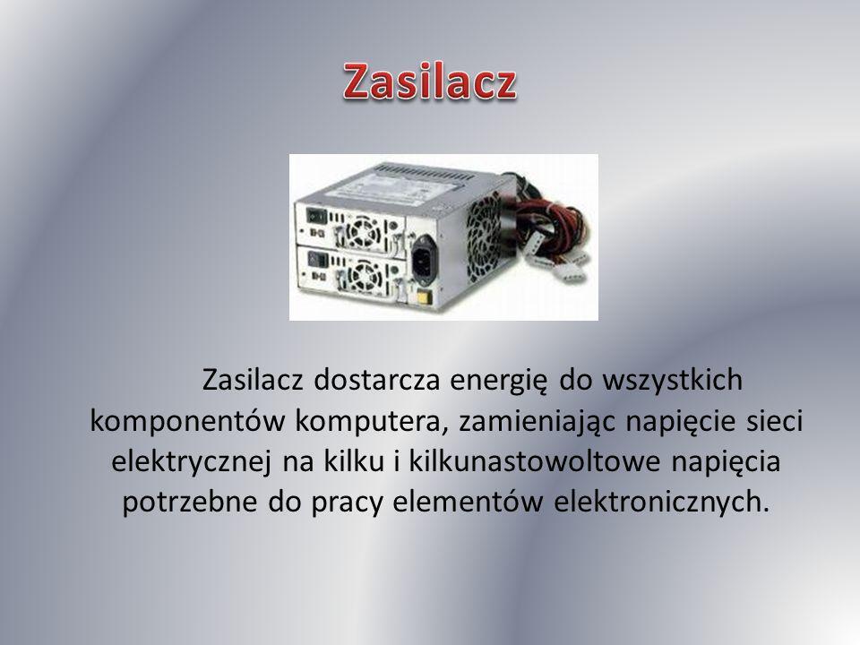Zasilacz dostarcza energię do wszystkich komponentów komputera, zamieniając napięcie sieci elektrycznej na kilku i kilkunastowoltowe napięcia potrzebn