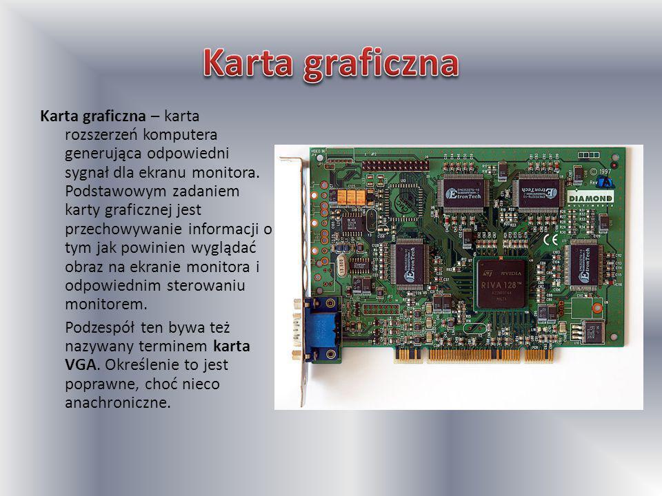 Karta graficzna – karta rozszerzeń komputera generująca odpowiedni sygnał dla ekranu monitora. Podstawowym zadaniem karty graficznej jest przechowywan