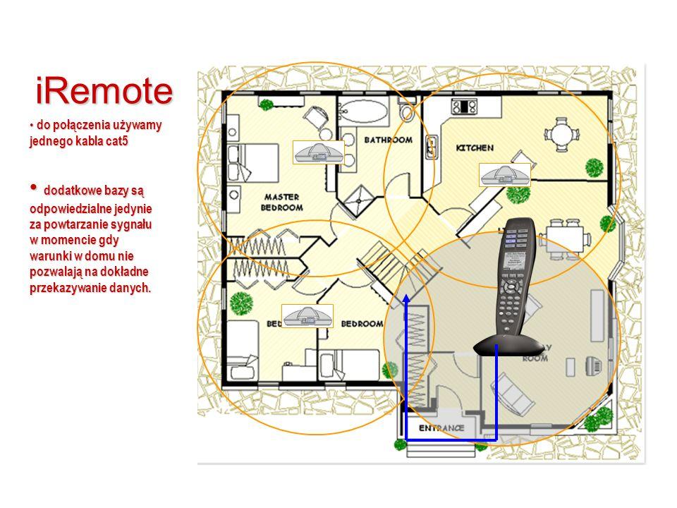 iRemote do połączenia używamy jednego kabla cat5 do połączenia używamy jednego kabla cat5 dodatkowe bazy są odpowiedzialne jedynie za powtarzanie sygnału w momencie gdy warunki w domu nie pozwalają na dokładne przekazywanie danych.