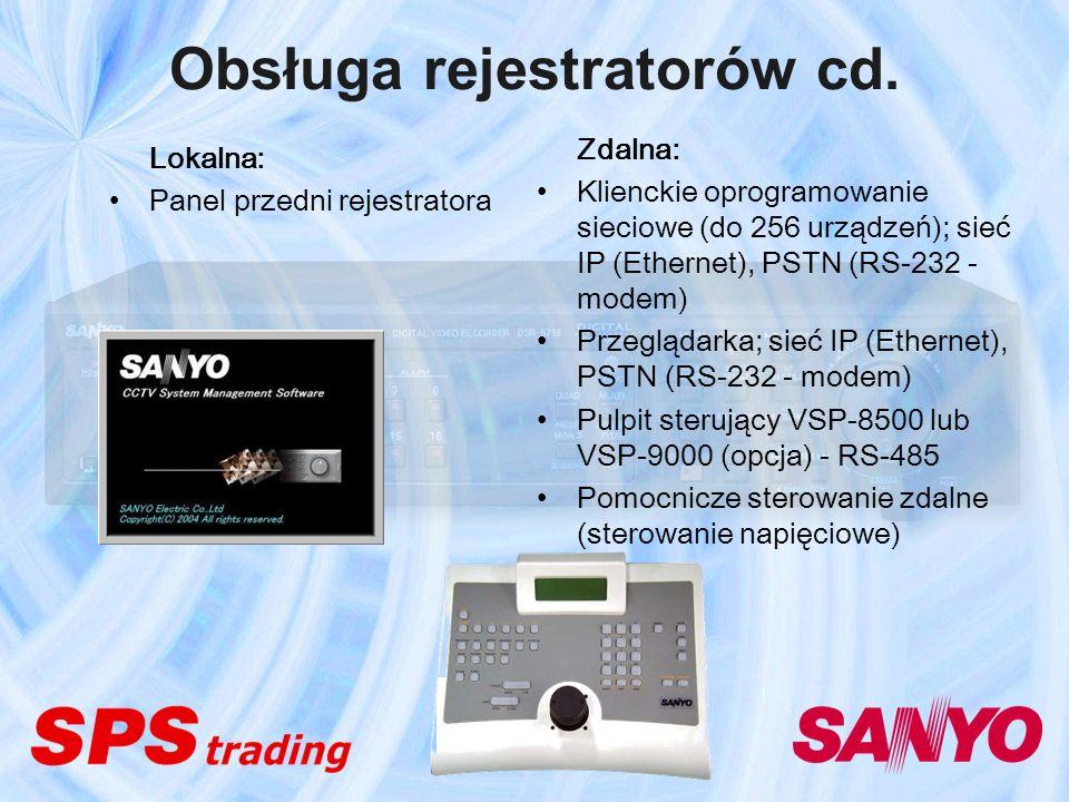 Obsługa rejestratorów cd. Lokalna: Panel przedni rejestratora Zdalna: Klienckie oprogramowanie sieciowe (do 256 urządzeń); sieć IP (Ethernet), PSTN (R