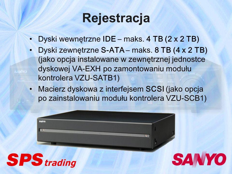Rejestracja Dyski wewnętrzne IDE – maks. 4 TB (2 x 2 TB) Dyski zewnętrzne S-ATA – maks. 8 TB (4 x 2 TB) (jako opcja instalowane w zewnętrznej jednostc