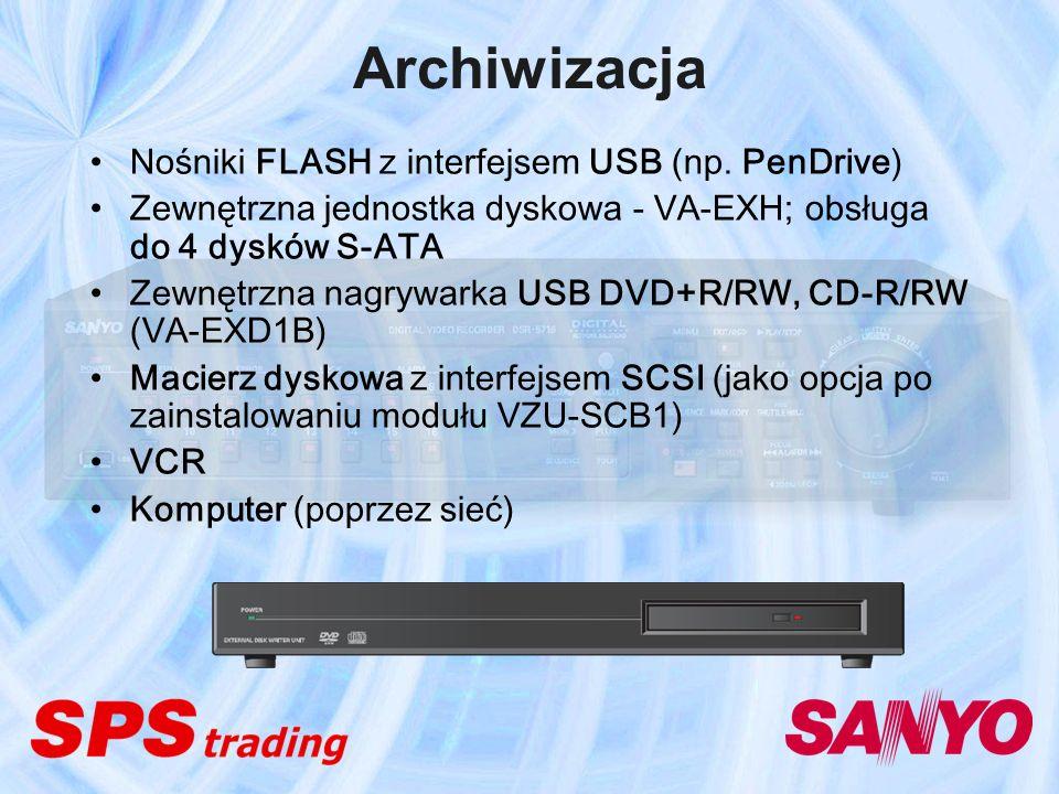 Archiwizacja Nośniki FLASH z interfejsem USB (np. PenDrive) Zewnętrzna jednostka dyskowa - VA-EXH; obsługa do 4 dysków S-ATA Zewnętrzna nagrywarka USB