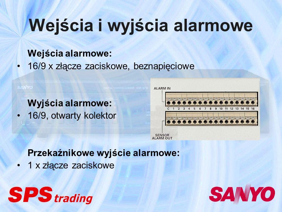 Wejścia i wyjścia alarmowe Wejścia alarmowe: 16/9 x złącze zaciskowe, beznapięciowe Wyjścia alarmowe: 16/9, otwarty kolektor Przekaźnikowe wyjście ala