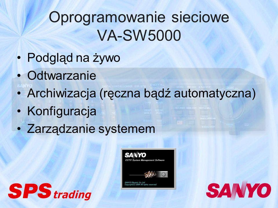 Oprogramowanie sieciowe VA-SW5000 Podgląd na żywo Odtwarzanie Archiwizacja (ręczna bądź automatyczna) Konfiguracja Zarządzanie systemem
