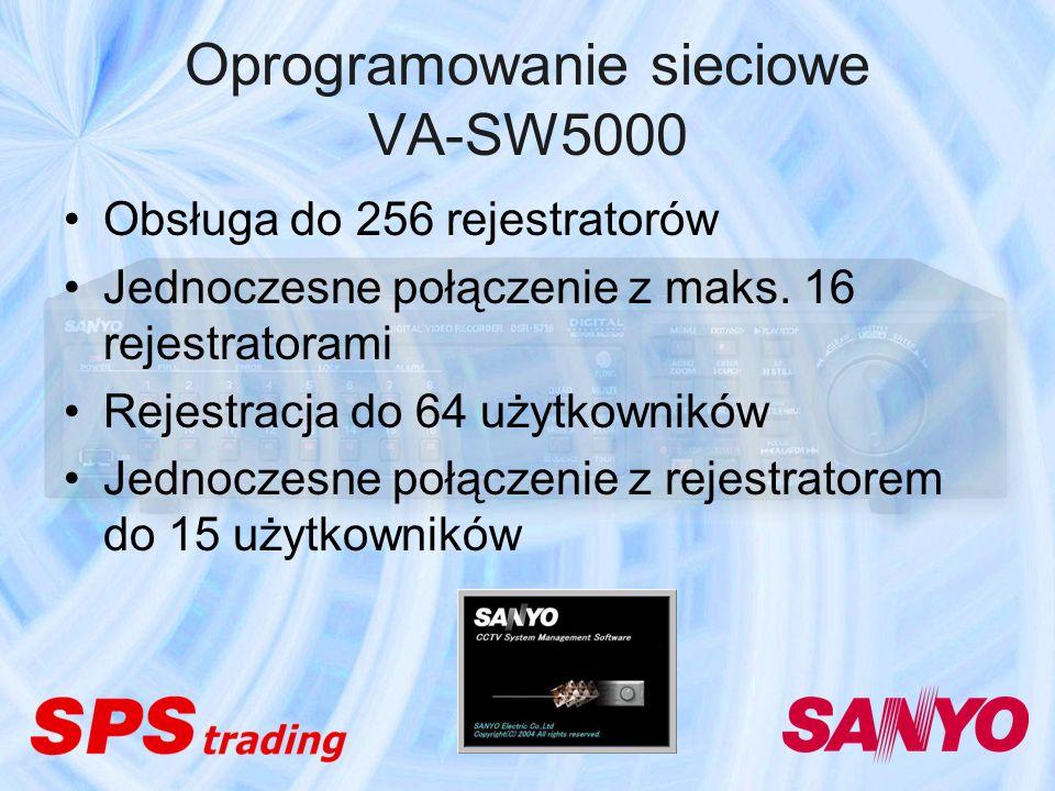 Oprogramowanie sieciowe VA-SW5000 Obsługa do 256 rejestratorów Jednoczesne połączenie z maks. 16 rejestratorami Rejestracja do 64 użytkowników Jednocz