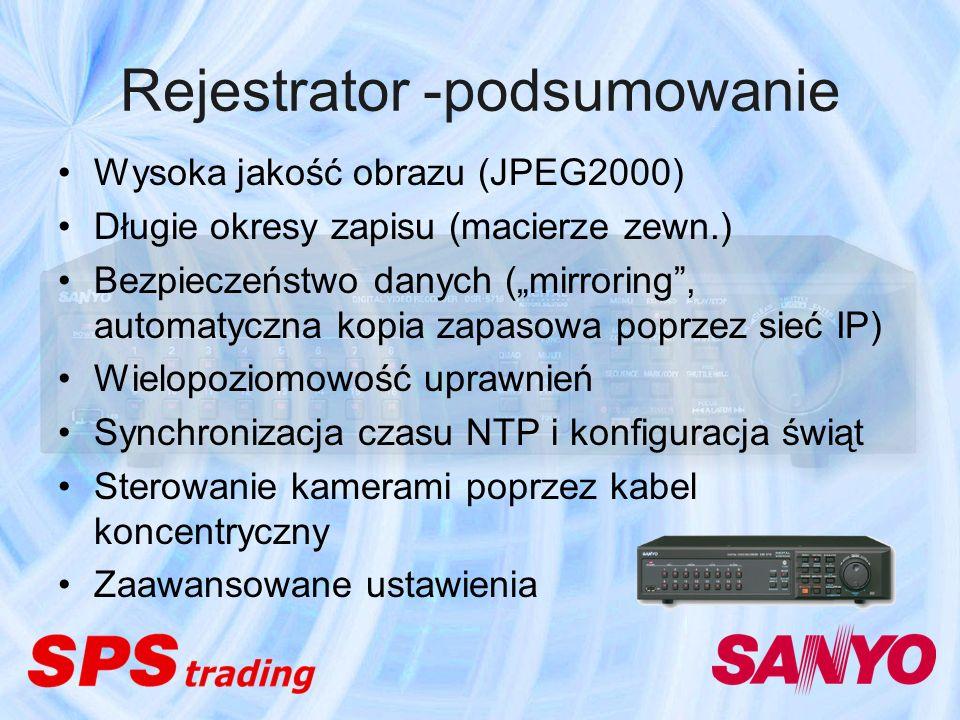 Rejestrator -podsumowanie Wysoka jakość obrazu (JPEG2000) Długie okresy zapisu (macierze zewn.) Bezpieczeństwo danych (mirroring, automatyczna kopia z