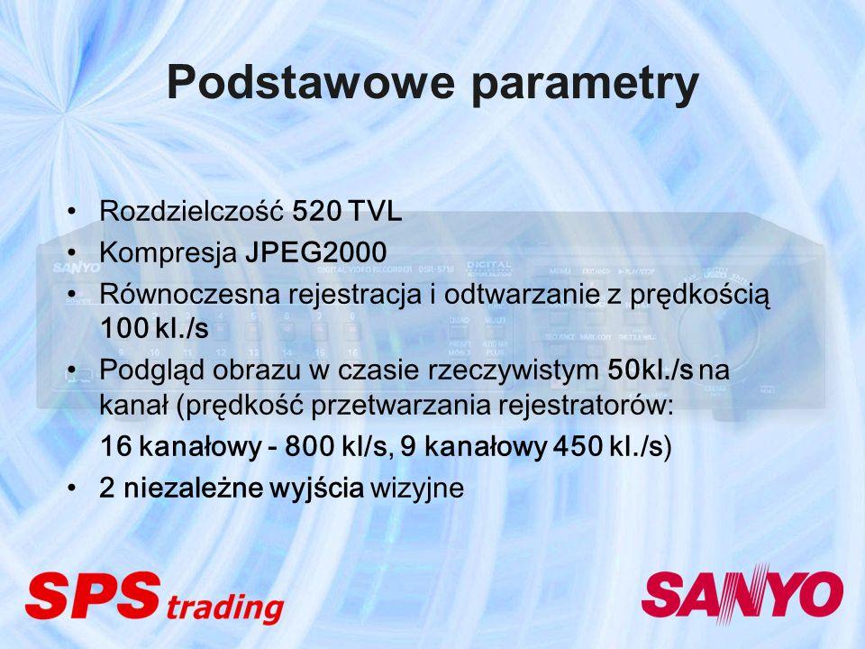 Podstawowe parametry Rozdzielczość 520 TVL Kompresja JPEG2000 Równoczesna rejestracja i odtwarzanie z prędkością 100 kl./s Podgląd obrazu w czasie rze