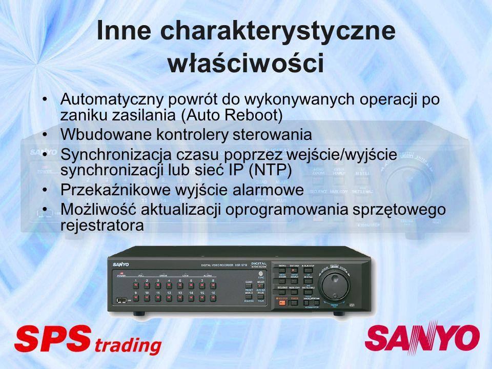 Inne charakterystyczne właściwości Automatyczny powrót do wykonywanych operacji po zaniku zasilania (Auto Reboot) Wbudowane kontrolery sterowania Sync