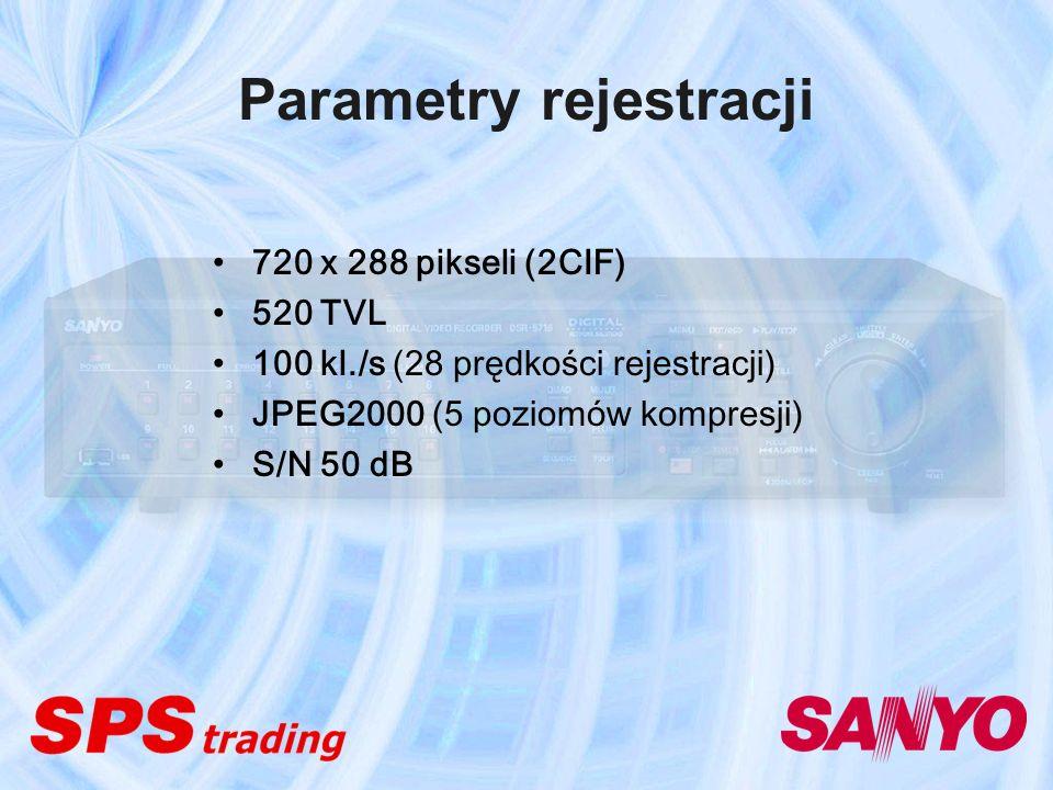 Parametry rejestracji 720 x 288 pikseli (2CIF) 520 TVL 100 kl./s (28 prędkości rejestracji) JPEG2000 (5 poziomów kompresji) S/N 50 dB