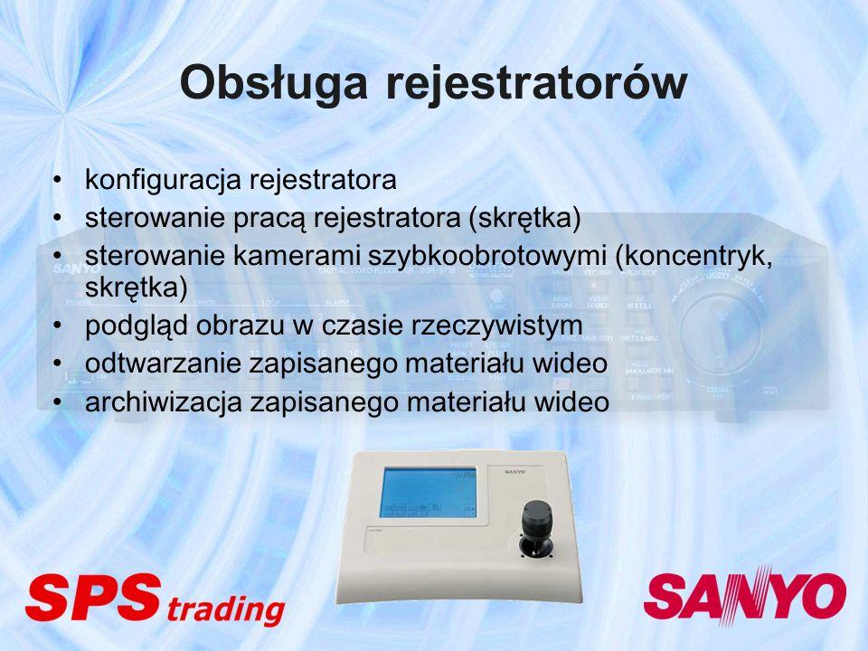 Obsługa rejestratorów konfiguracja rejestratora sterowanie pracą rejestratora (skrętka) sterowanie kamerami szybkoobrotowymi (koncentryk, skrętka) pod