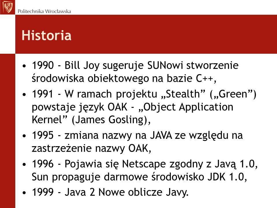 Historia 1990 - Bill Joy sugeruje SUNowi stworzenie środowiska obiektowego na bazie C++, 1991 - W ramach projektu Stealth (Green) powstaje język OAK -