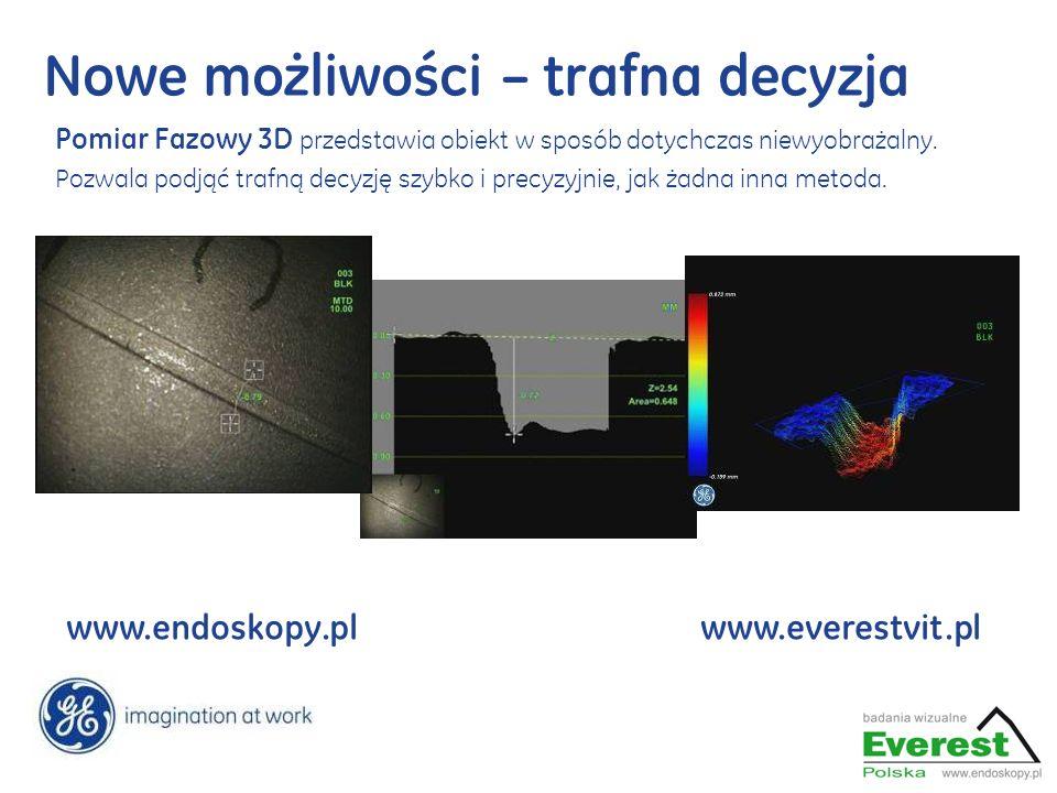 www.endoskopy.plwww.everestvit.pl Nowe możliwości – trafna decyzja Pomiar Fazowy 3D przedstawia obiekt w sposób dotychczas niewyobrażalny. Pozwala pod