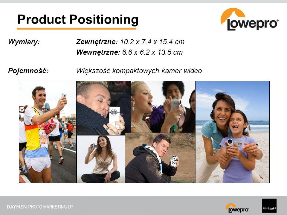 Product Positioning Wymiary:Zewnętrzne: 10.2 x 7.4 x 15.4 cm Wewnętrzne: 6.6 x 6.2 x 13.5 cm Pojemność:Większość kompaktowych kamer wideo