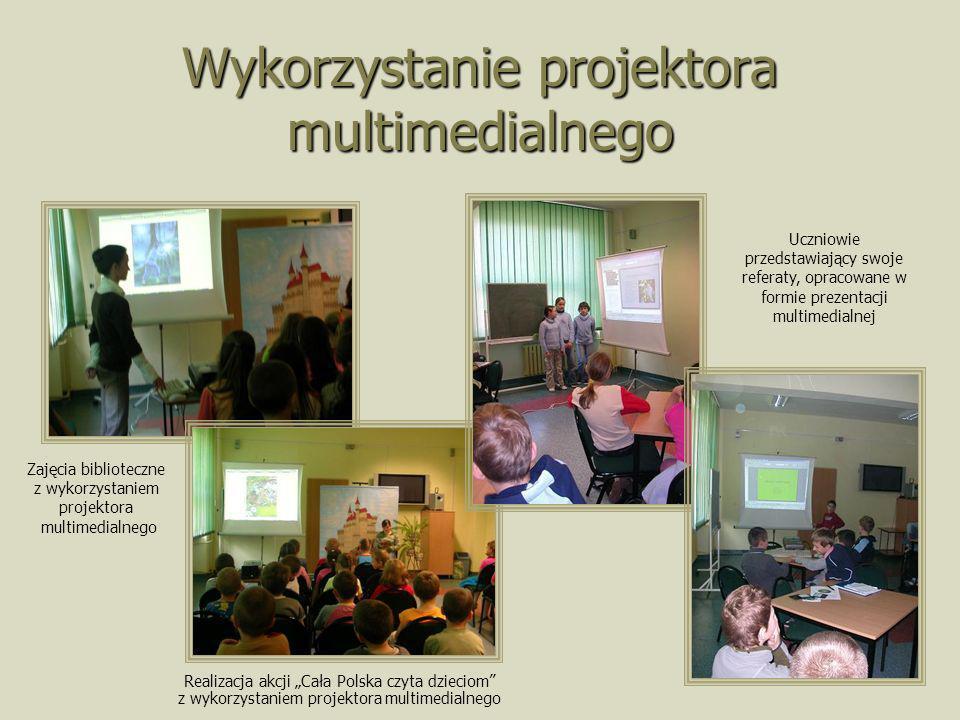Wykorzystanie projektora multimedialnego Realizacja akcji Cała Polska czyta dzieciom z wykorzystaniem projektora multimedialnego Zajęcia biblioteczne