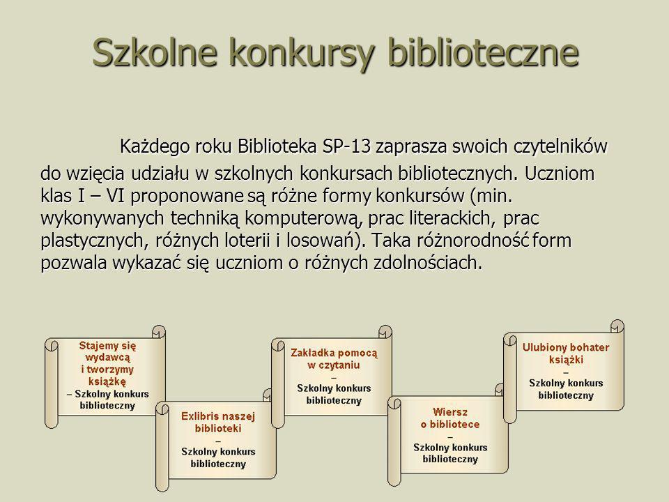 Szkolne konkursy biblioteczne Każdego roku Biblioteka SP-13 zaprasza swoich czytelników do wzięcia udziału w szkolnych konkursach bibliotecznych. Uczn