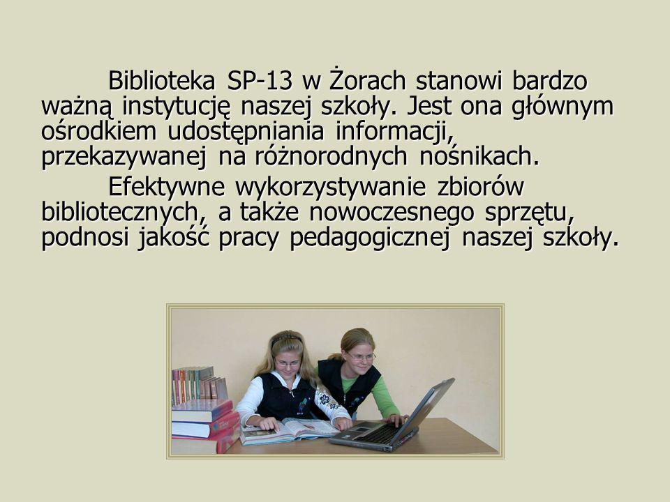 Biblioteka SP-13 w Żorach stanowi bardzo ważną instytucję naszej szkoły. Jest ona głównym ośrodkiem udostępniania informacji, przekazywanej na różnoro