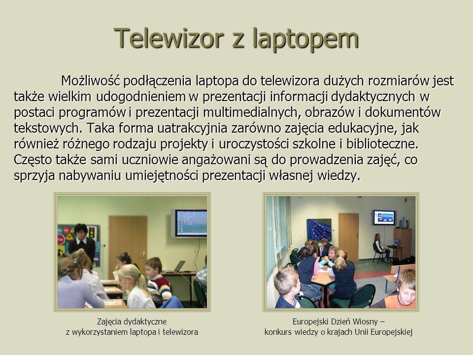 Telewizor z laptopem Możliwość podłączenia laptopa do telewizora dużych rozmiarów jest także wielkim udogodnieniem w prezentacji informacji dydaktyczn