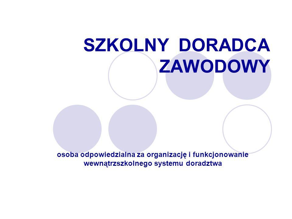 SZKOLNY DORADCA ZAWODOWY osoba odpowiedzialna za organizację i funkcjonowanie wewnątrzszkolnego systemu doradztwa