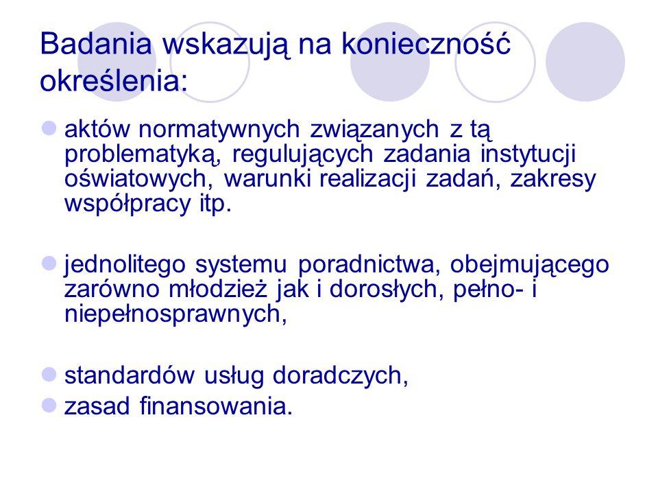 Uzasadnienie potrzeby utworzenia stanowiska szkolnego doradcy zawodowego Potrzeba profesjonalnej pomocy, usytuowanej blisko ucznia Udzielanie uczniom pomocy w wyborze i selekcji informacji dotyczących edukacji i rynku pracy, zgodnie z planowanym przez nich kierunkiem rozwoju zawodowego Obniżenie społecznych kosztów kształcenia dzięki poprawieniu trafności wyborów na kolejnych etapach edukacji Dostosowanie rozwiązań polskich do standardów krajów UE