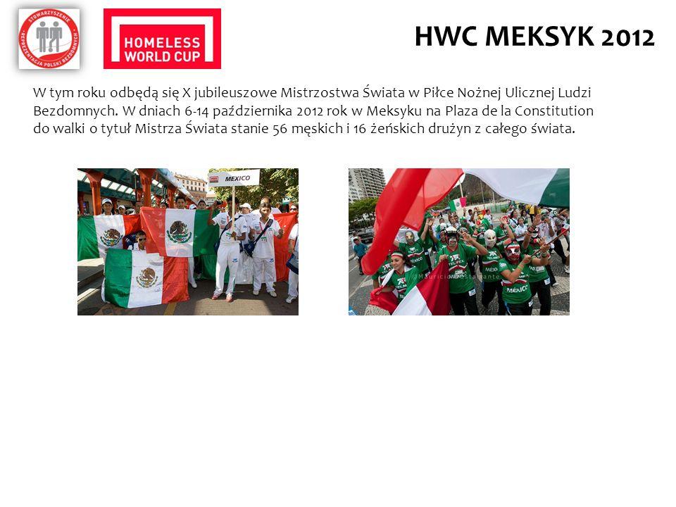 HWC MEKSYK 2012 W tym roku odbędą się X jubileuszowe Mistrzostwa Świata w Piłce Nożnej Ulicznej Ludzi Bezdomnych. W dniach 6-14 października 2012 rok