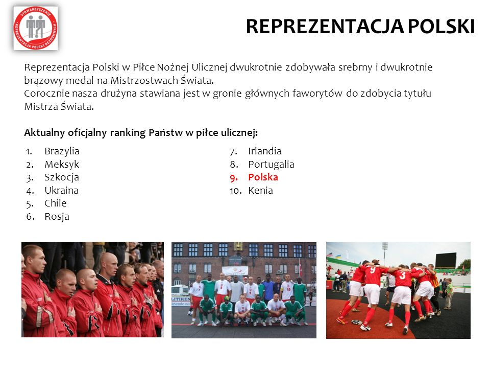 REPREZENTACJA POLSKI Reprezentacja Polski w Piłce Nożnej Ulicznej dwukrotnie zdobywała srebrny i dwukrotnie brązowy medal na Mistrzostwach Świata. Cor