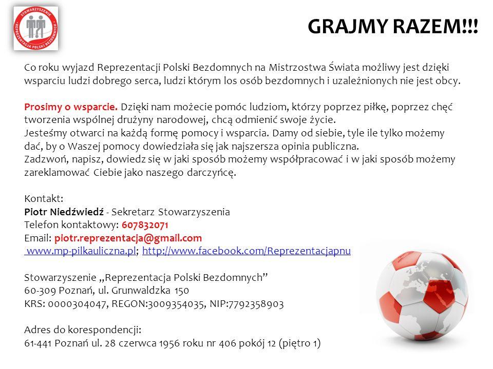 GRAJMY RAZEM!!! Co roku wyjazd Reprezentacji Polski Bezdomnych na Mistrzostwa Świata możliwy jest dzięki wsparciu ludzi dobrego serca, ludzi którym lo
