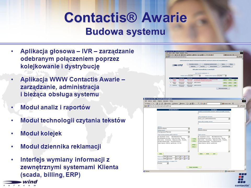Contactis® Awarie Budowa systemu Aplikacja głosowa – IVR – zarządzanie odebranym połączeniem poprzez kolejkowanie i dystrybucję Aplikacja WWW Contacti