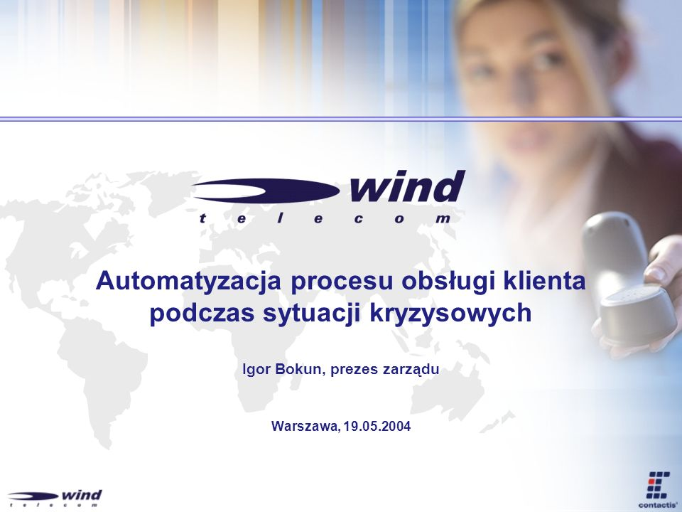Wind Telecom dzisiaj podstawowe informacje Producent i integrator rozwiązań komunikacyjnych 60 osobowy doświadczony zespół Biura w Warszawie i Bielsku-Białej Skupienie się na sektorach: telekomunikacja bankowość i finanse przemysł z naciskiem na spółki użyteczności publicznej administracja Profesjonalne laboratorium telekomunikacyjne