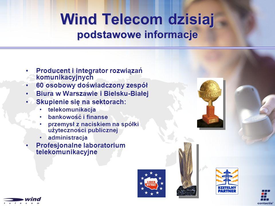 Wind Telecom Historia 1998 – na bazie doświadczeń zdobytych podczas pracy dla Laboratoriów AT&T w Cambridge powstaje Wind Telecom 1999 – powstaje pierwsza aplikacja platformy Contactis – poczta głosowa dla centrali Siemens 2001 – Wind Telecom pozyskuje kapitał z Doliny Krzemowej – inwestycja Funduszy Renaissance 2002 – Stworzenie pierwszych aplikacji dedykowanych sektorowi energetycznemu – Contactis® Awarie 2003 – Pierwsze wdrożenia systemu Contactis® Awarie.