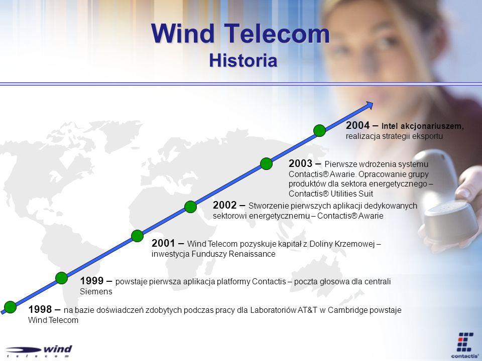 Wind Telecom Historia 1998 – na bazie doświadczeń zdobytych podczas pracy dla Laboratoriów AT&T w Cambridge powstaje Wind Telecom 1999 – powstaje pier