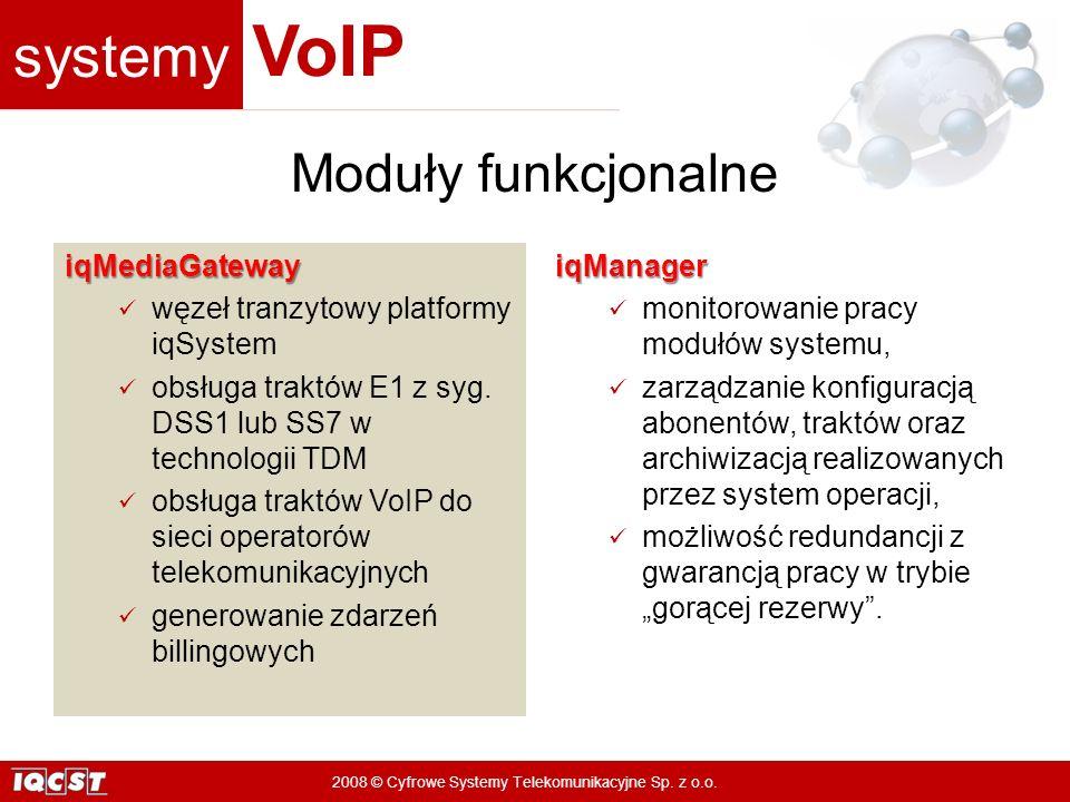 systemy VoIP 2008 © Cyfrowe Systemy Telekomunikacyjne Sp. z o.o. iqMediaGateway węzeł tranzytowy platformy iqSystem obsługa traktów E1 z syg. DSS1 lub