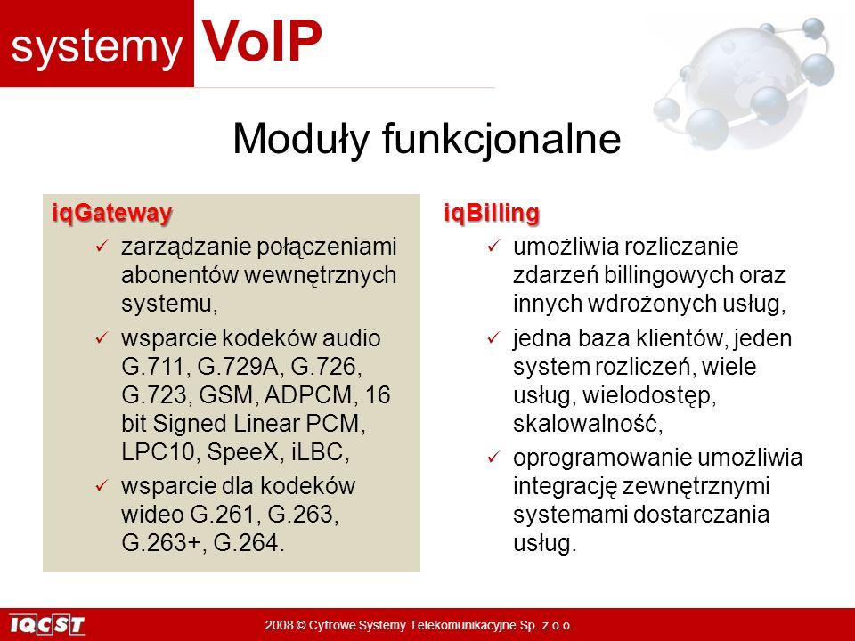 systemy VoIP 2008 © Cyfrowe Systemy Telekomunikacyjne Sp. z o.o. iqGateway zarządzanie połączeniami abonentów wewnętrznych systemu, wsparcie kodeków a