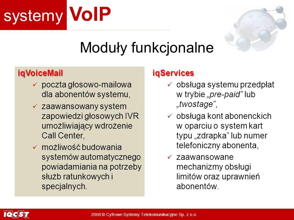 systemy VoIP 2008 © Cyfrowe Systemy Telekomunikacyjne Sp. z o.o. iqVoiceMail poczta głosowo-mailowa dla abonentów systemu, zaawansowany system zapowie
