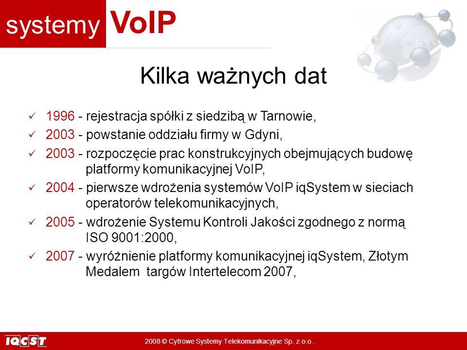 systemy VoIP 2008 © Cyfrowe Systemy Telekomunikacyjne Sp. z o.o. Kilka ważnych dat 1996 - rejestracja spółki z siedzibą w Tarnowie, 2003 - powstanie o