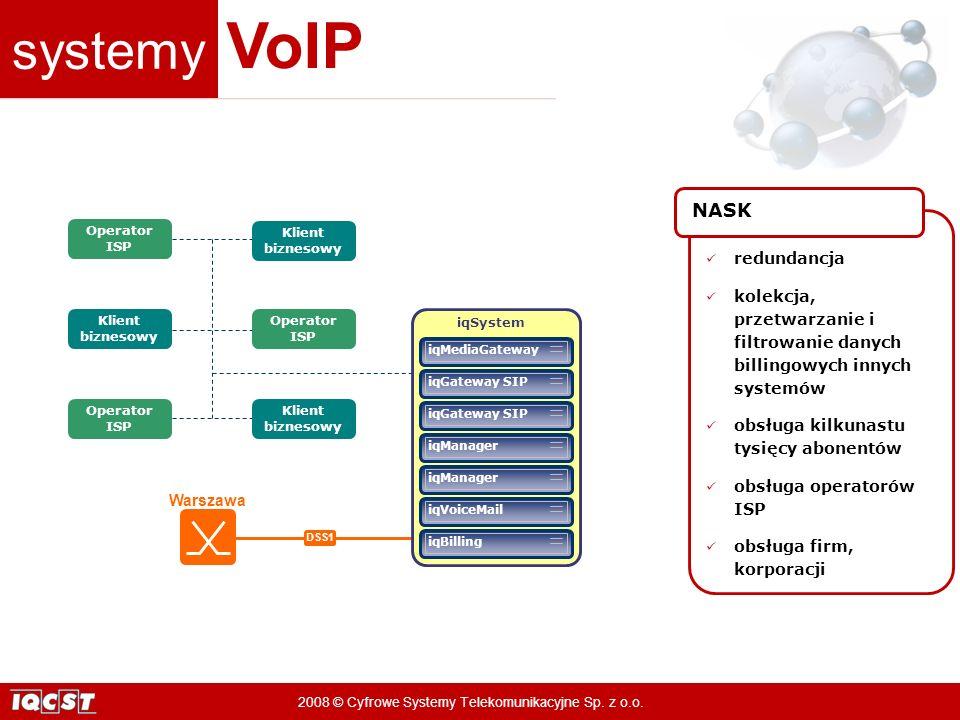 systemy VoIP 2008 © Cyfrowe Systemy Telekomunikacyjne Sp. z o.o. Warszawa DSS1 Klient biznesowy Operator ISP iqBilling iqVoiceMail iqManager iqGateway
