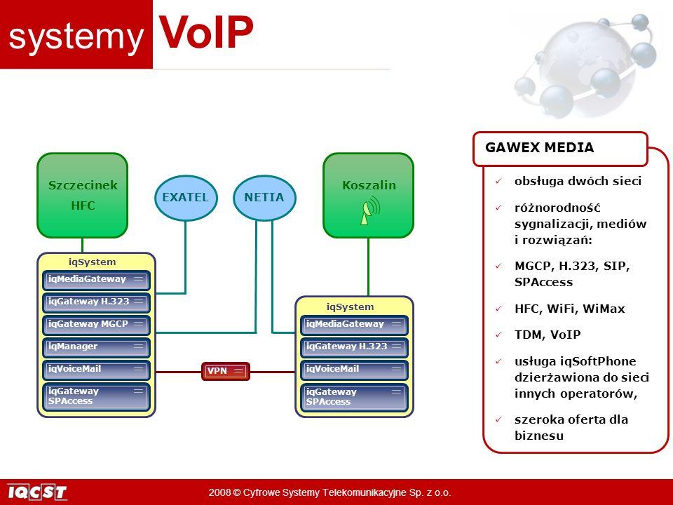 systemy VoIP 2008 © Cyfrowe Systemy Telekomunikacyjne Sp. z o.o. Koszalin EXATELNETIA Szczecinek HFC iqGateway SPAccess iqSystem iqVoiceMail iqManager
