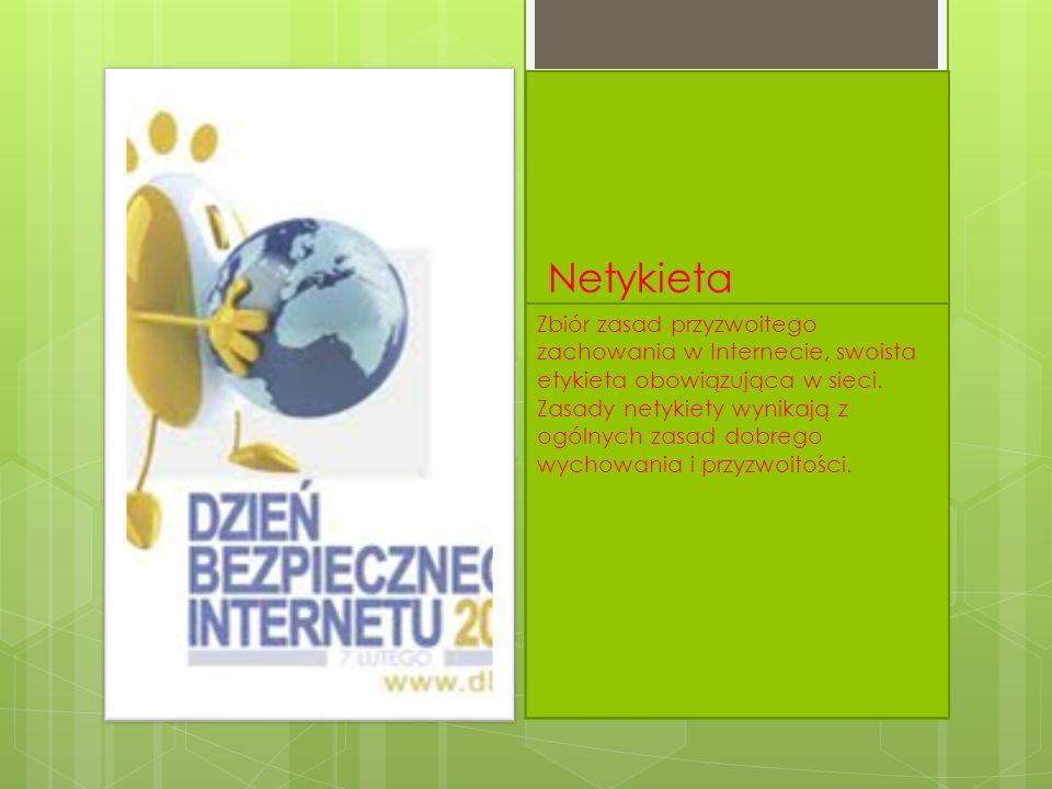 Netykieta Zbiór zasad przyzwoitego zachowania w Internecie, swoista etykieta obowiązująca w sieci. Zasady netykiety wynikają z ogólnych zasad dobrego