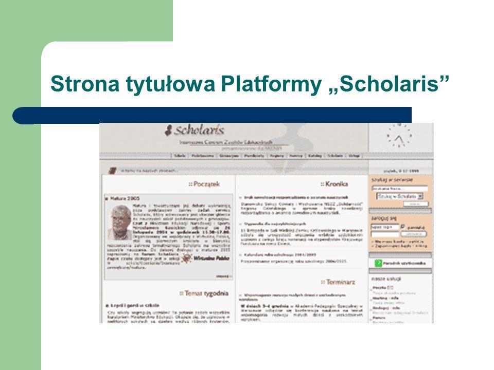 Strona tytułowa Platformy Scholaris